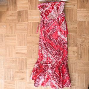 Orange maxi dress anthropologie